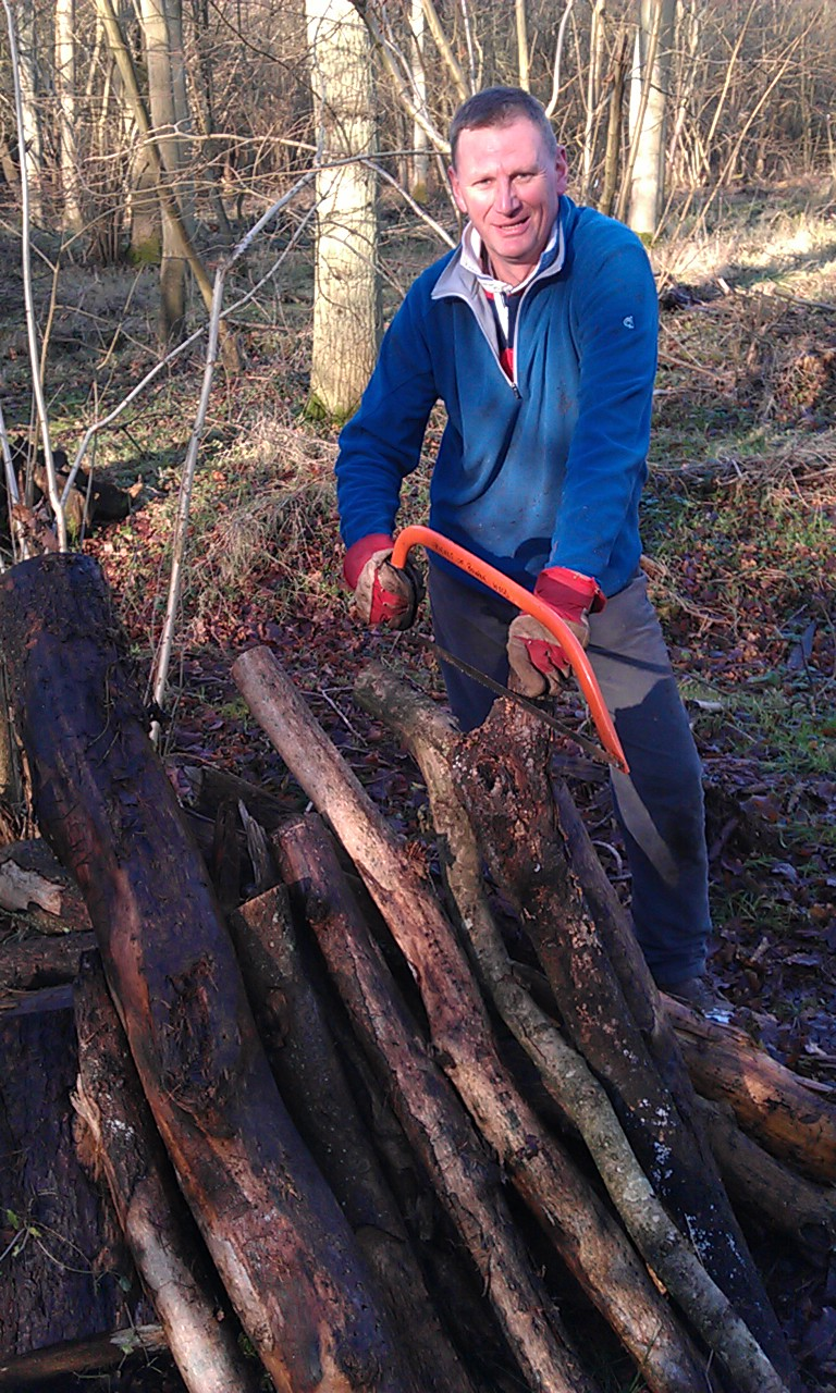 martin cutting wood