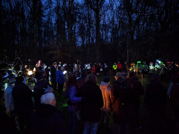 crowd at wassailing ob bourne community orchard